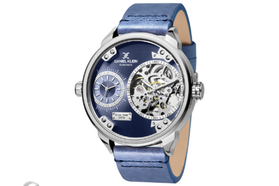 Daniel Klein - Skeleton Automatic Watch For Man Blue Dial