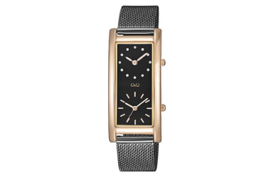 Q & Q - Women's Dual Time Watch RGP Black Stainless Steel