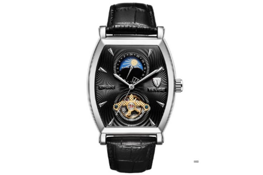Tevise - Moon Phase Automatic Watch for Men SS Black Dial