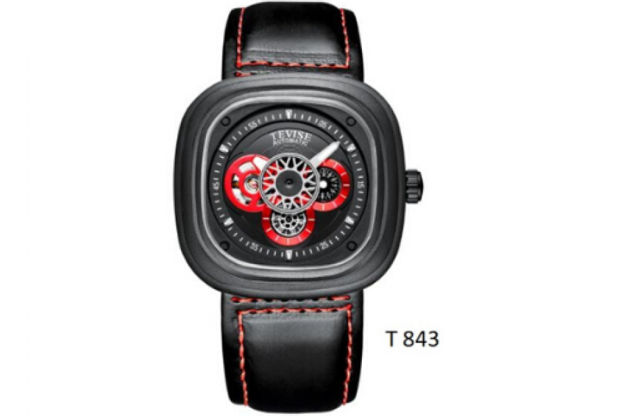Tevise - Automatic Watch for Man Black Strap BM Black/Red Dial