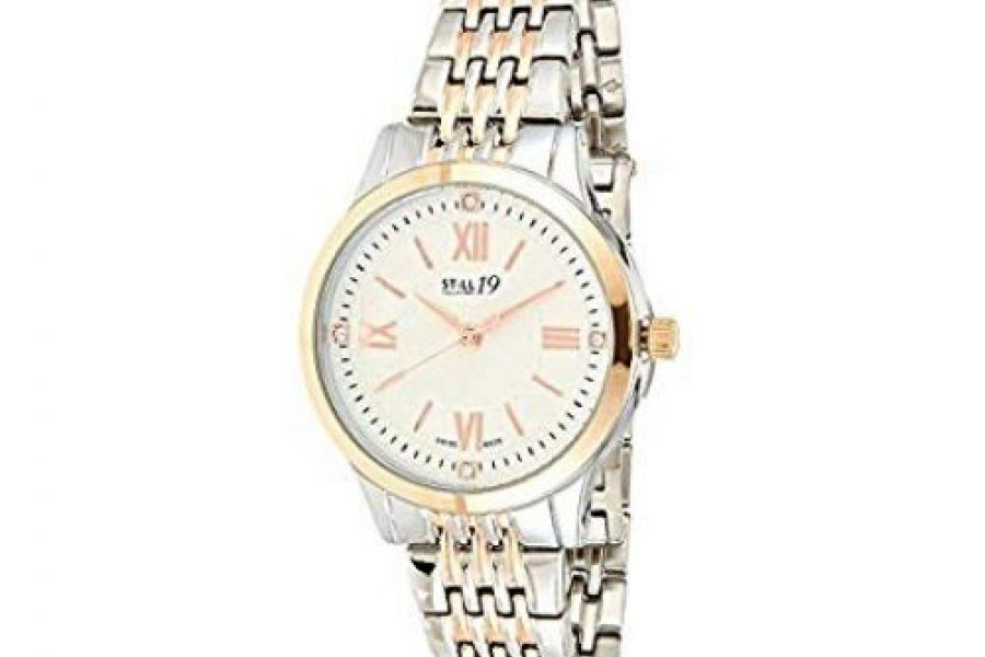 Still 19 Women's Rose Gold Dial Solid Stainless Steel Band Watch