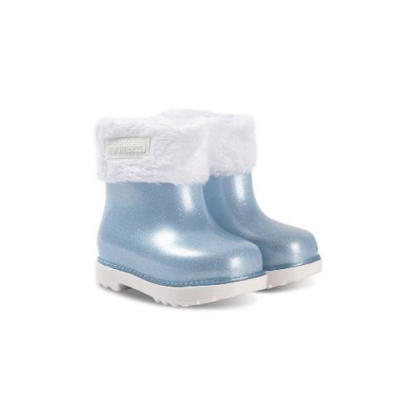 Mini Melissa - Girls Pale Blue Glittery Pair Rain Boots