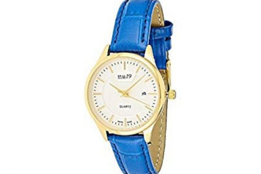Still 19 Women's Gold Dial Leather Band Watch